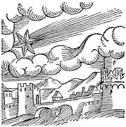 Apocalypse Framed Prints - Comet Over A Castle, 16th Century Framed Print by