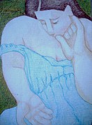 Voluptuous Drawings Prints - Comforting Lap Print by Diane montana Jansson