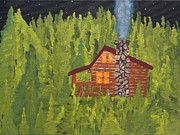 Log Cabin Art Paintings - Comfy In The Pines by W C Allen