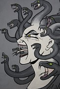 Medusa Metal Prints - Comic Medusa  Metal Print by Laura Mancini