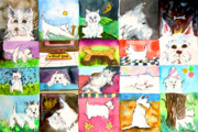 Cute Mixed Media Originals - Comical Westie by Mindy Newman
