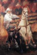 Roping Horse Paintings - Comin At Ya      Calf Roping Painting by Kim Corpany