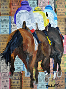 Kentucky Derby Mixed Media Prints - Coming From Behind Print by Michael Lee