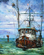 Shrimp Boat Prints - Coming Home Print by Dianne Parks