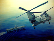 Helicopters Paintings - Coming Home by Stephen Roberson