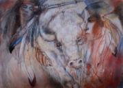 Sacred Pastels Posters - Coming Of The White Buffalocalf Poster by Pamela Mccabe