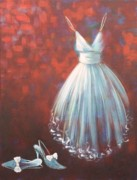 Ball Gown Mixed Media Metal Prints - Coming Out Metal Print by Nicola Hill