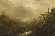 Autumn Landscape Painting Prints - Coming Storm in the Adirondacks Print by William Sonntag