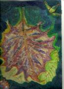 Going Green Painting Posters - Coming To Me Floating Leaf  Poster by Anne-Elizabeth Whiteway