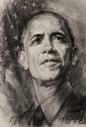 Barack Obama Drawings Metal Prints - Commander-in-Chief Metal Print by Ylli Haruni