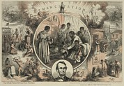 African Americans Framed Prints - Commemoration Of The Emancipation Framed Print by Everett