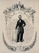 Slavery Photo Prints - Commemorative Print Of Abraham Lincoln Print by Everett