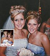 Bridesmaid Paintings - Commission Bride And Bridesmaid Wedding Oil Painting Based On Your Photo by Les Moments