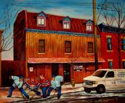 Hockey Scenes Paintings - Commission Me Your Store by Carole Spandau