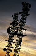 Communications Tower Posters - Communications tower at sunset Poster by Sami Sarkis