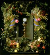 Corn Painting Framed Prints - Communion cup and host encircled with a garland of fruit Framed Print by Jan Davidsz de  Heem
