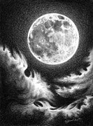 Sea Moon Full Moon Drawings Prints - Communion Print by Lucy West