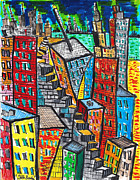 Buildings Drawings Framed Prints - Compacted  Framed Print by Jon Baldwin  Art