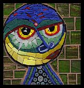 Humor. Glass Art - Companion to Klee - Fantasy Face No.15 by Gila Rayberg