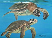Sea Turtles Painting Originals - Companions of the Sea by Elaine Haakenson