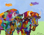 Buffalo Paintings - Companions by Tracy Miller