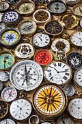 Compasses Prints - Compases And Pocket Watches  Print by Garry Gay