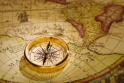 Prepared Prints - Compass and Antique Map Print by Utah Images