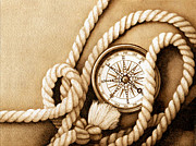 Nautical Pyrography - Compass and Rope by Cate McCauley