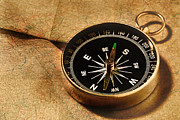 Vintage Map Photos - Compass by HD Connelly