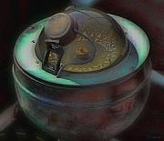 Nautical Digital Art - Compass in Moonlight by Tony Grider