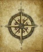 Rose Painting Posters - Compass Rose Poster by Judy Merrell