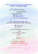 Anniversary Painting Posters - Compassion and Love Poster by Judy Dodds