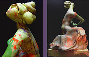 African American Sculptures - Compensation-Orange-Light Green-Blush Orange- Lemon yellow by Duane Paul