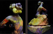 African American Sculptures - Compensation-Orange-Purple-Yellow by Duane Paul