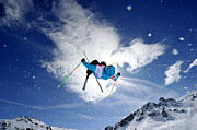 Young Man Posters - Competitive Mogul Skier Jumps Off A Kicker Poster by Agence Zoom