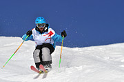 Young Man Posters - Competitive Mogul Skier On A Bumps Course Poster by Agence Zoom