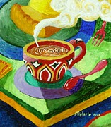 Coffee Shop Painting Posters - Complementary Coffee 3 Poster by Paul Hilario