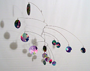 Watercolor Art Sculpture Posters - Complexity Style Kinetic Mobile Sculpture Poster by Carolyn Weir