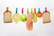 Republic Prints - Components Of Sandwich Pegged To Washing Line Print by Image by Catherine MacBride