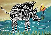 Surrealisme Framed Prints - Composed Zebra Framed Print by Sally Appleby