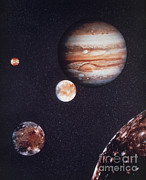 Galilean Moons Posters - Composite Image Of Jupiter & Four Poster by NASA / Science Source