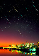 Meteor Art - Composite Image Of Meteors Over A City At Night by David Nunuk