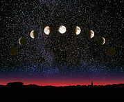 Moon Phases Prints - Composite Time-lapse Image Of The Lunar Phases Print by John Sanford
