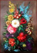 Italian Wine Paintings - Composition of flowers by Fabio Morganti