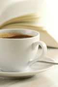 Book Title Art - Composition with cup of coffee and a book on the table by T Monticello