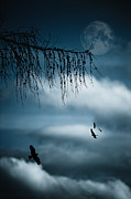 Moon Surface Prints - Composition With Tree, Moon, Clouds And Birds Print by Andreas Schott (Bonnix)