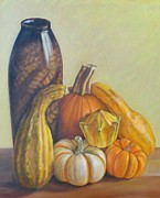 Pumpkins Paintings - Composition by Ziba Bastani