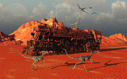 Animal Tracks Digital Art - Compsognathus Dinosaurs by Mark Stevenson