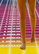 Grid Posters - Computer Abstract Of Womans Legs And Time Grid Poster by Victor De Schwanberg
