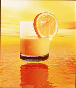 Orange Juice Prints - Computer Art Of Glass Of Orange Juice & Orange Sea Print by Victor Habbick Visions